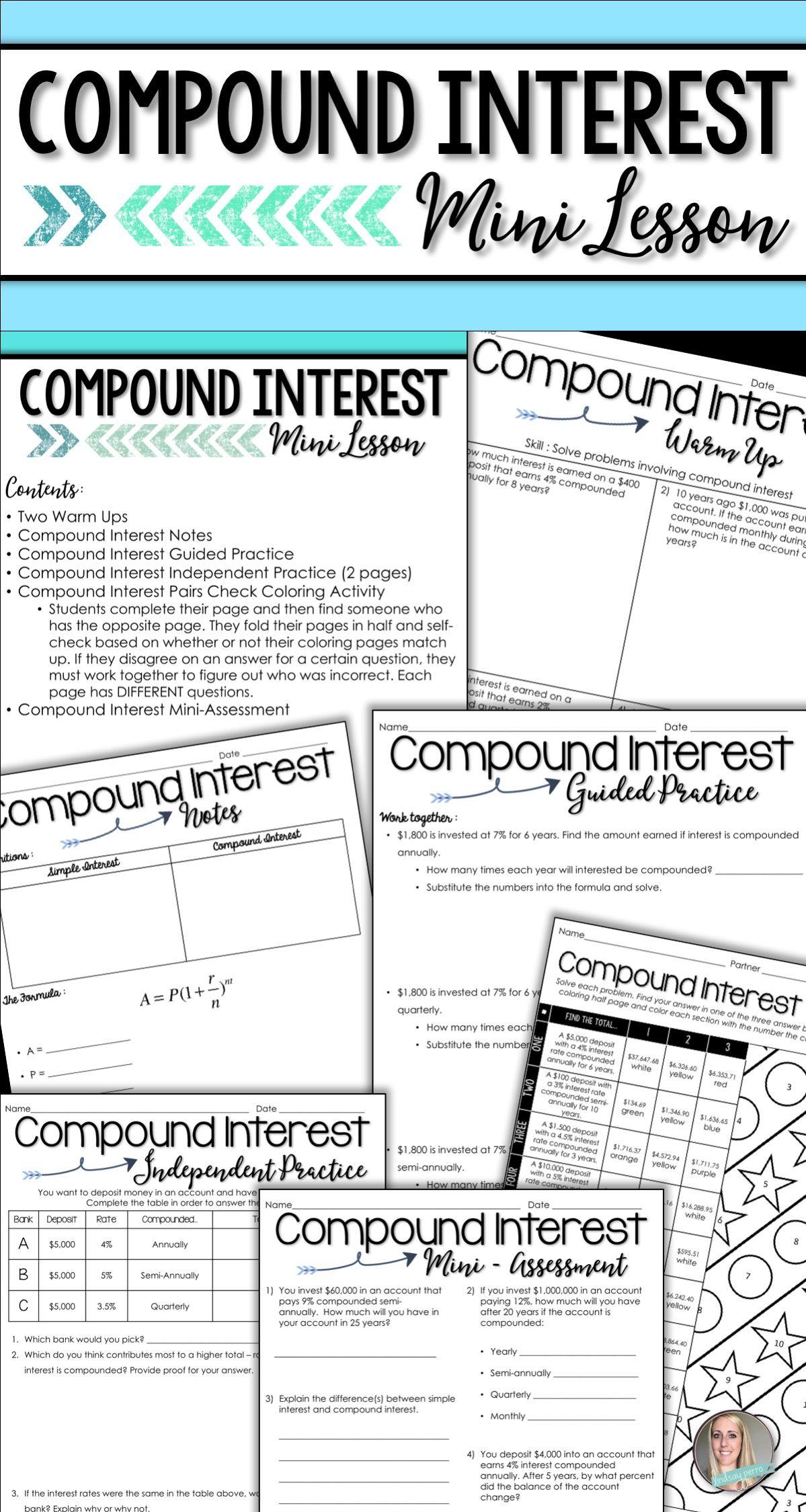 worksheet Compound Interest Practice Worksheet compound interest mini lesson math activities and algebra lesson