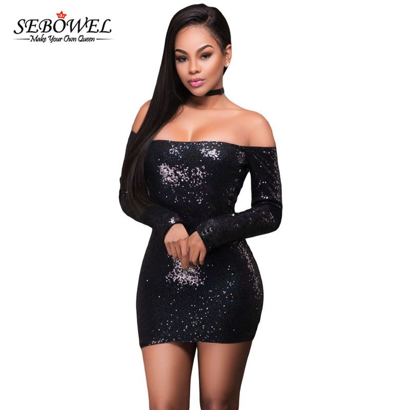 b2ee7322bd SEBOWEL Sexy Off Shoulder Long Sleeve Mini Dresses Clubwear Sequin Dress  Black/Pink/S-XL