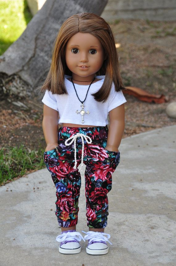 Floral Pants for 14/'/' AG American Doll Doll Fashion Clothes White Crop Top