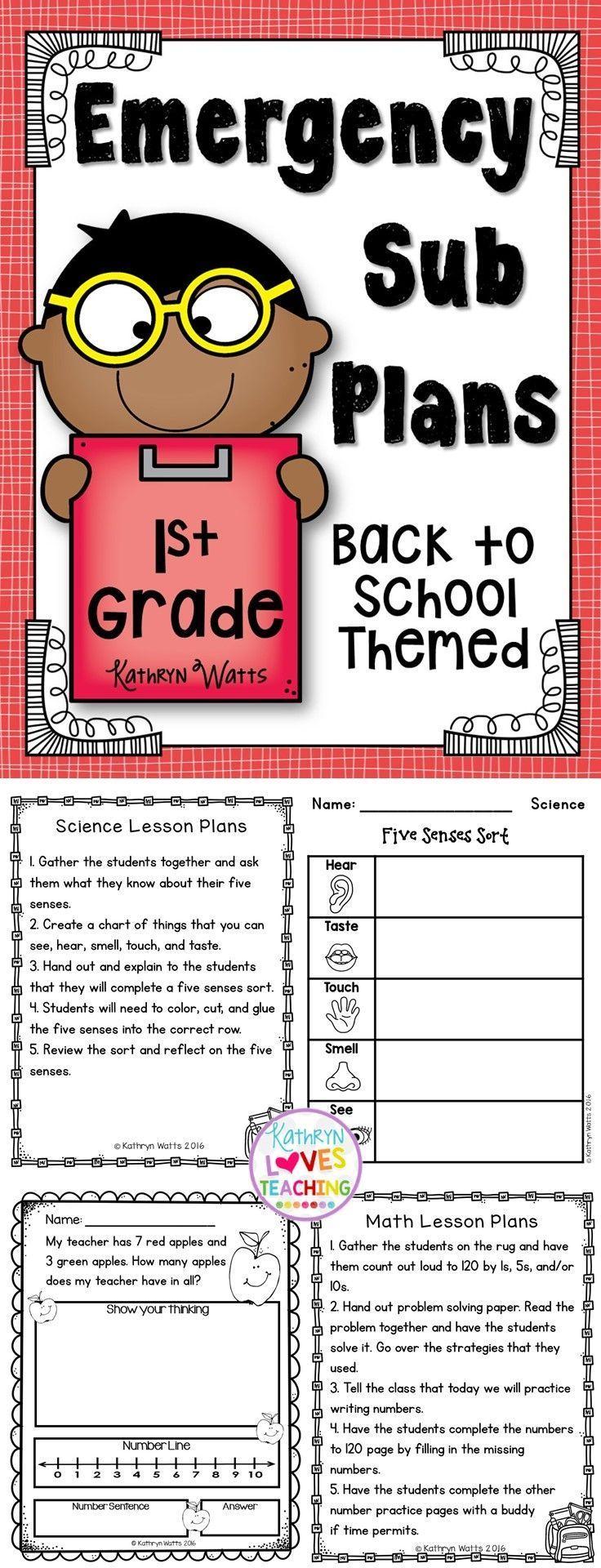 1st grade Emergency Lesson Plans! Middle school lesson