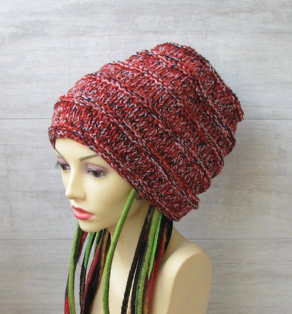 5a4563fa Long slouchy beanie, Pink grunge winter beanie hat, Colorful ...