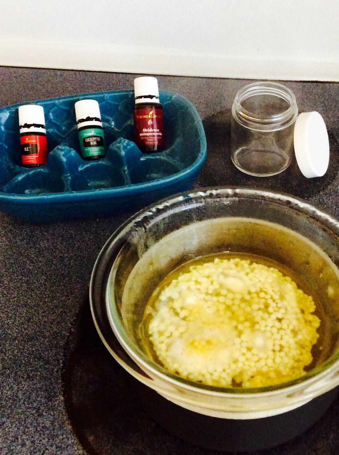 DIY Chest Rub... Melt down 5Tbs of coconut oil, 2Tbs Shea butter, 1.5 Tbs beeswax. Once melted remove from heat add EO's. Stir & pour in a container. Let stand to solidify. Apply to chest for congestion or cough. 20 drops R.C. 12 drops Eucalyptus Blue 10 drops Melaleuca Another addition could be Peppermint or Wintergreen.