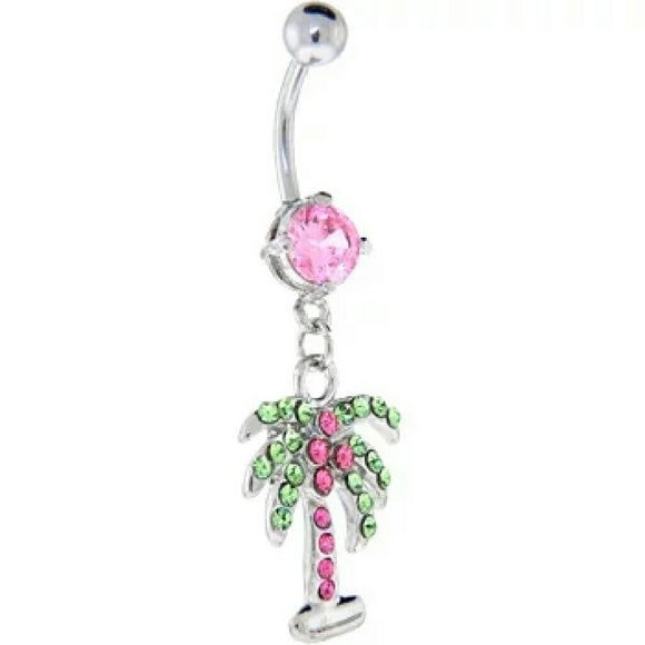 Belly Ring 14kt White Gold Plated Super Cute 14kt White Gold Plated