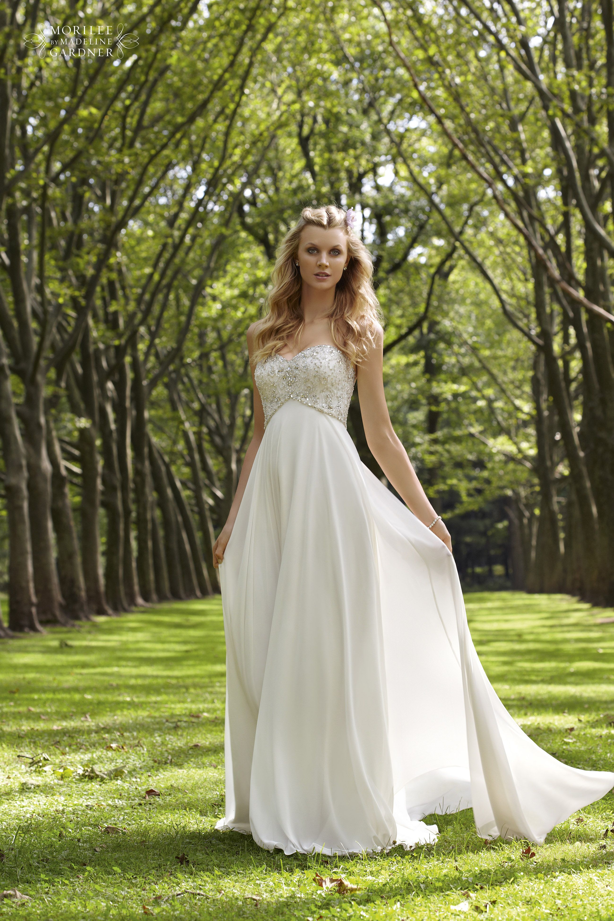 this is a very romantic dress with a chiffon skirt and crystal