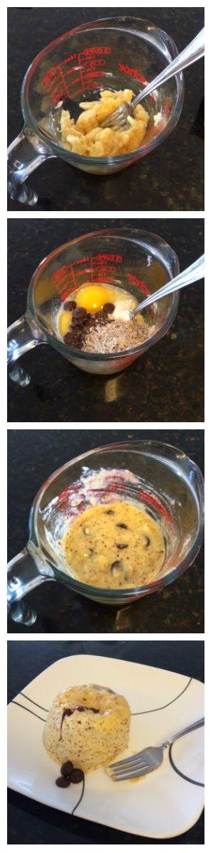 Healthy banana chocolate chip muffin: banana, egg, protein powder, coconut flour, chocolate chips.