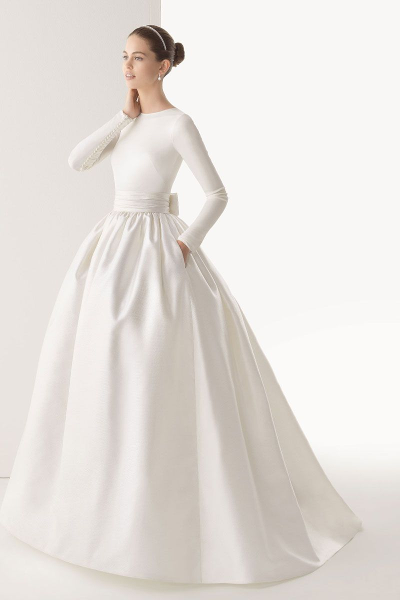 Simple silk wedding dresses  Ball Gown Natural Waist High Neck Silk Satinorganzatulle Wedding