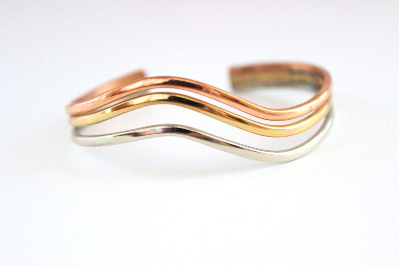 Vintage Copper Silver Brass Cuff Bracelet - Wave design by Sergio Lub California…