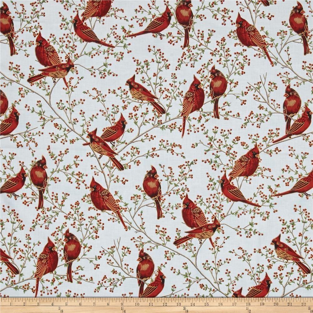 Good Tidings Cardinals Sky/Gold from @fabricdotcom From Hoffman ...