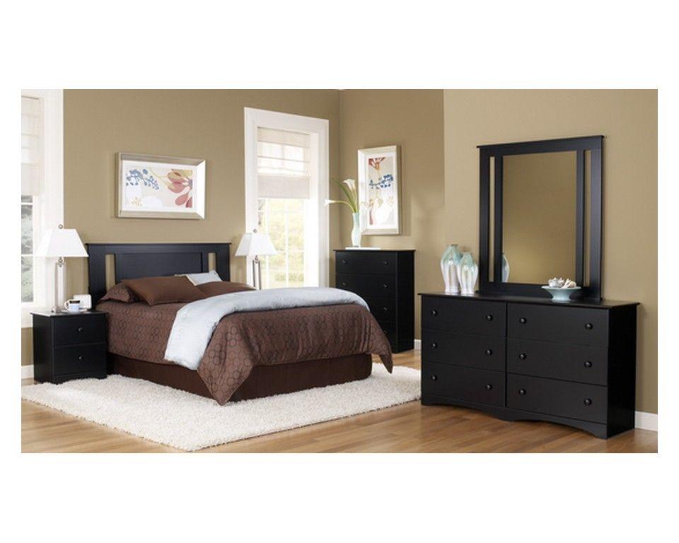 Versatile 4 Piece Twin Panel Bedroom Set In Black   Sam Levitz Furniture