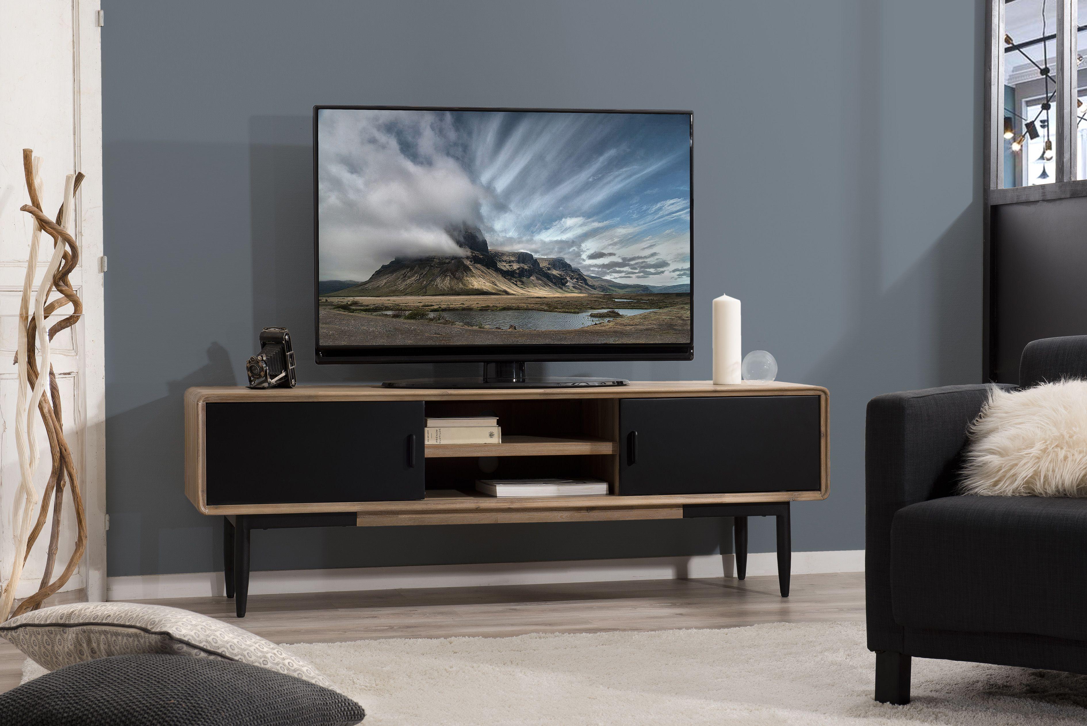 Meuble Tv En Acacia Massif Couleur Naturelle 2 Portes Coulissantes Noires 2 Niches Et Pieds Metal 165x45x55cm Palmeira Mobilier De Salon Meuble Tv Meuble Tv Design