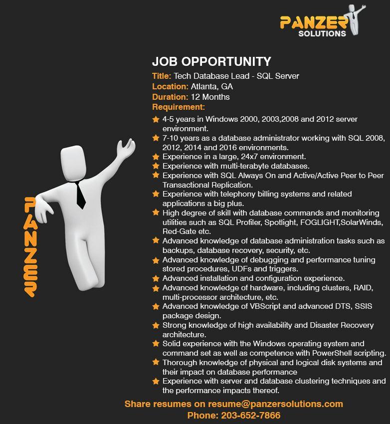 job title  tech database lead