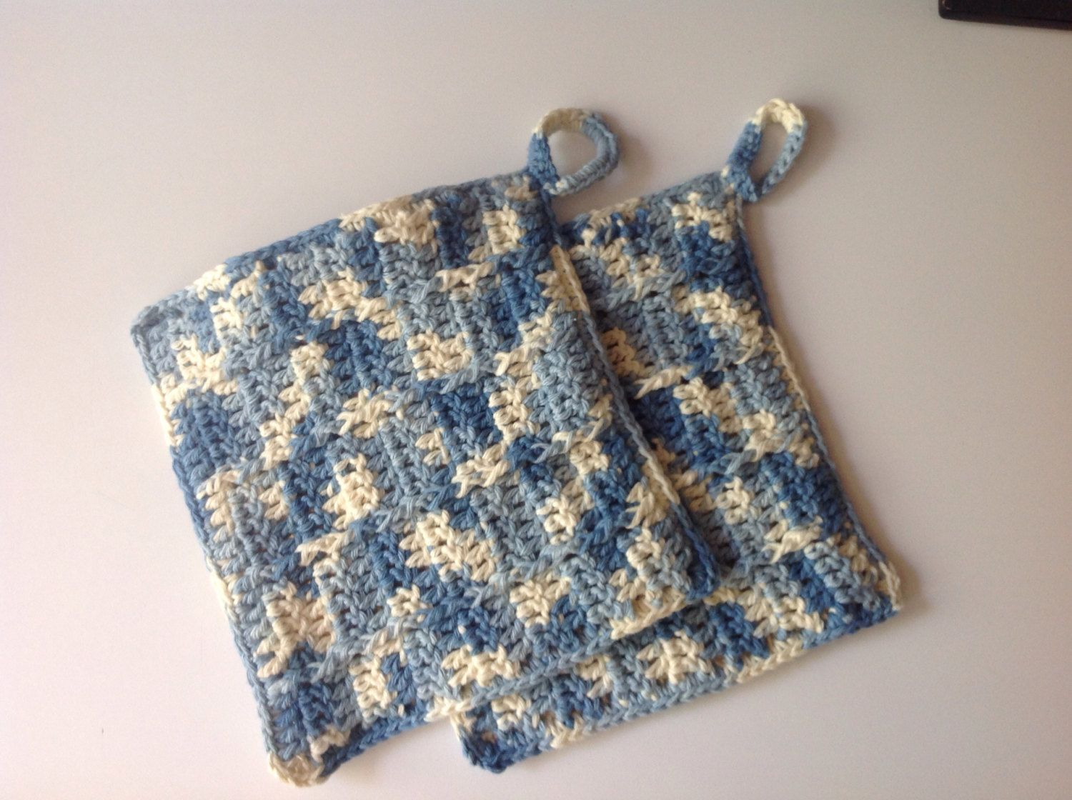 "Potholders, 8""x8"", ""Country blue"" by Mywaycrochet on Etsy"