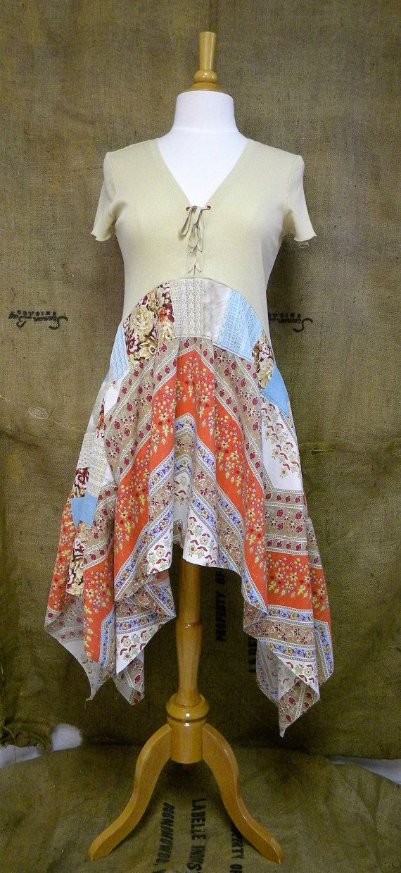 Top handmade from upcycled cotton, polyester, and vintage lace materials.