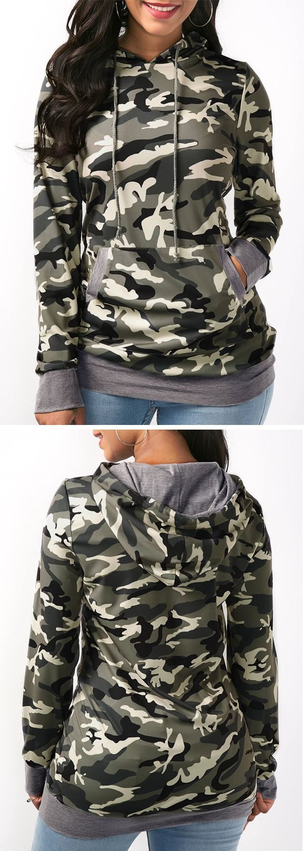 Camo print long sleeve pocket drawstring hoodie baby boy hoodies