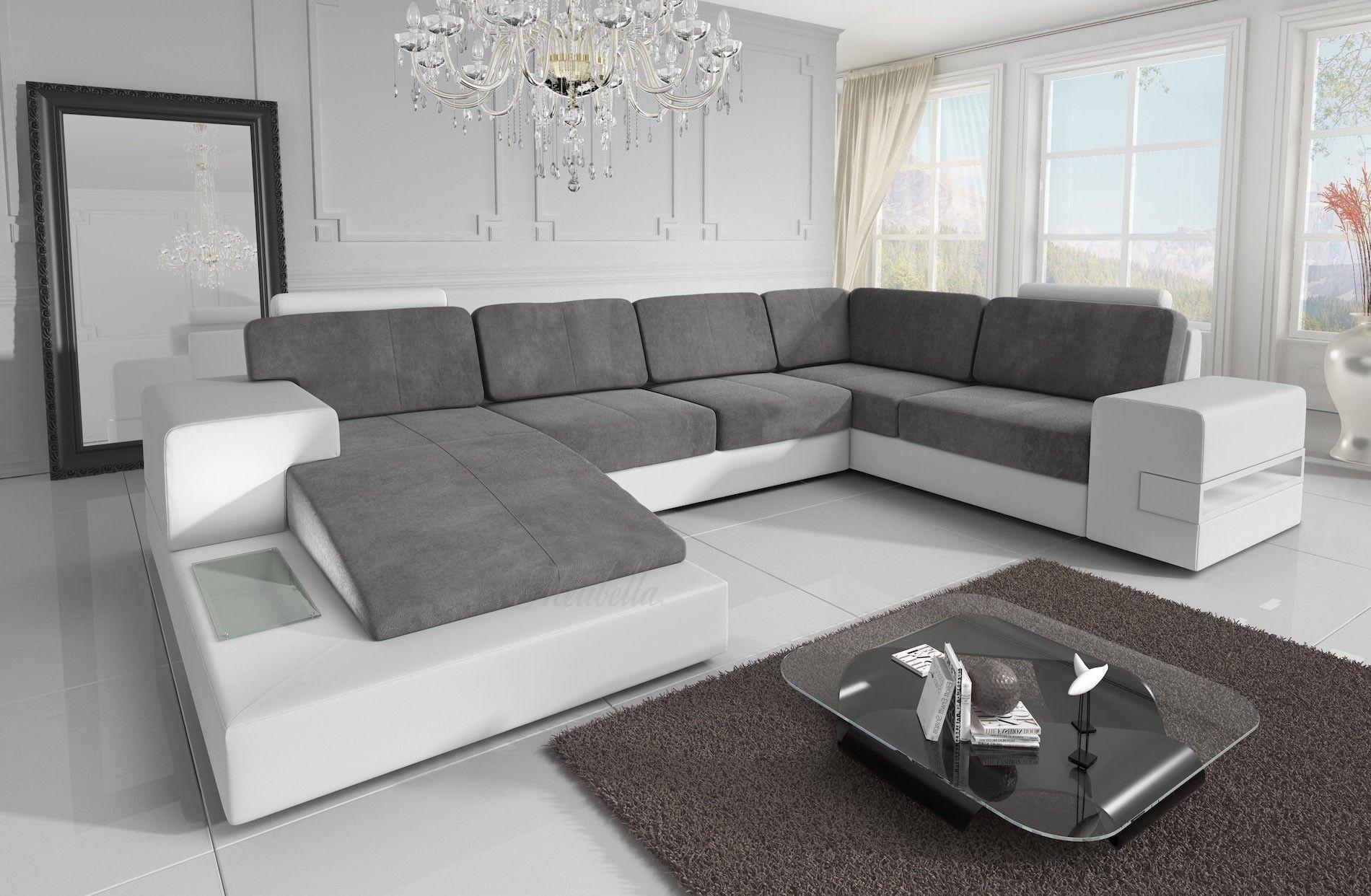Hoekbank u vorm leer oturma odası tasarımları
