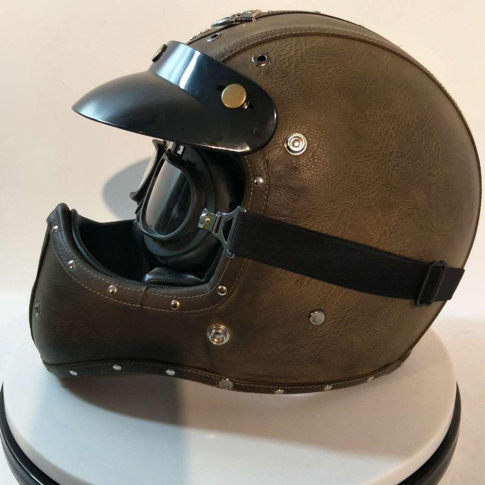 Full Face Cruiser Helmets >> Top Leather Full Face Motorcycle Helmet W Goggles Cruiser