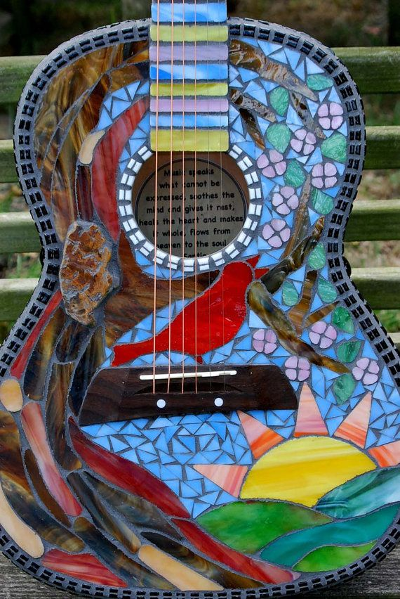 Mosaic Guitar Here Comes the Sun by Schilltill on Etsy