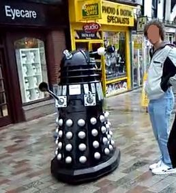 I spotted this Dalek in my town. I blurred the kid's face out. He said it did hurt.