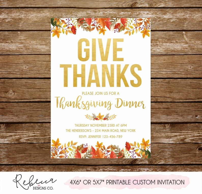 Thanksgiving invitation printable Eat drink and be ...
