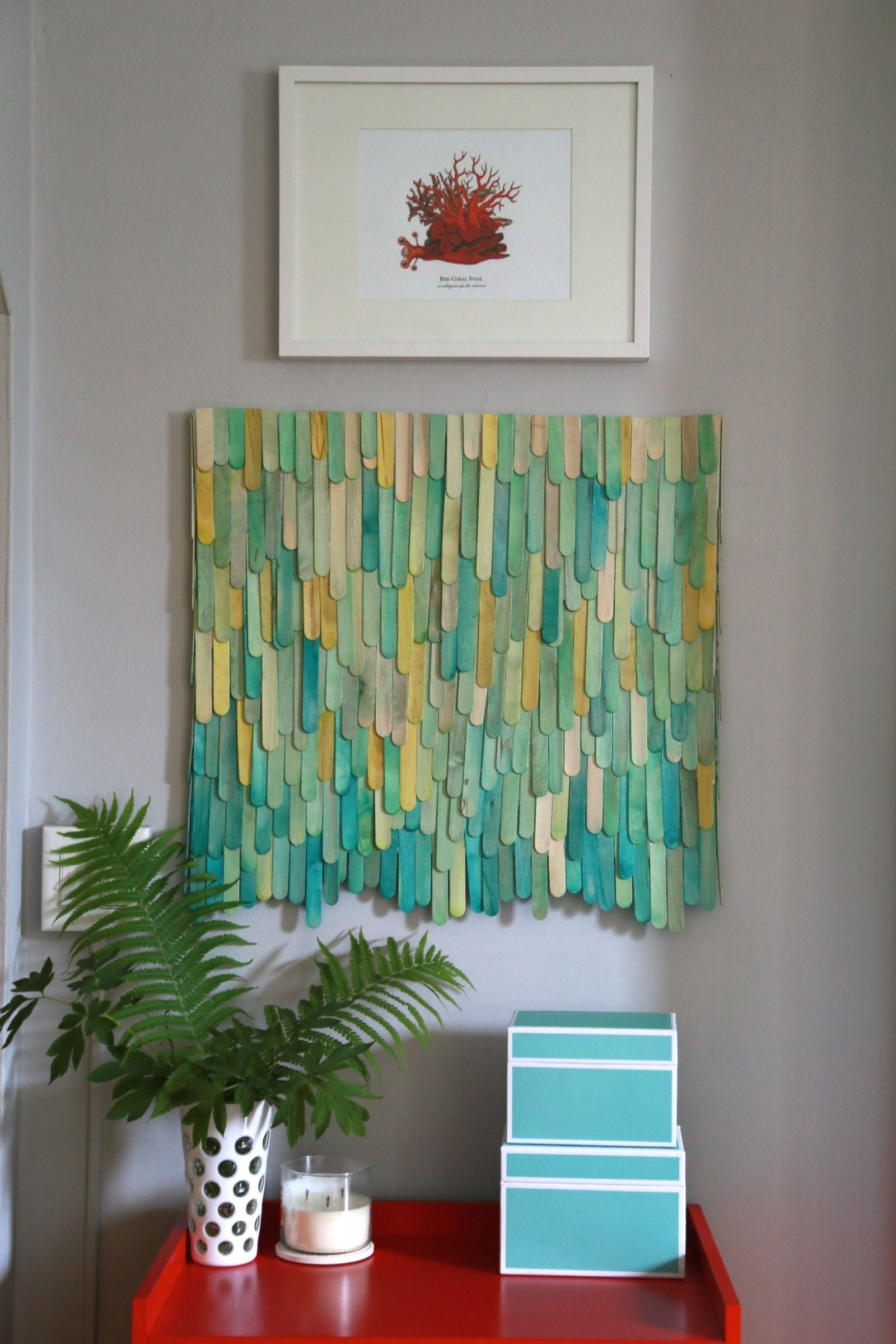 Make colorful wall art with dyed popsicle sticks and for Diy colorful wall art