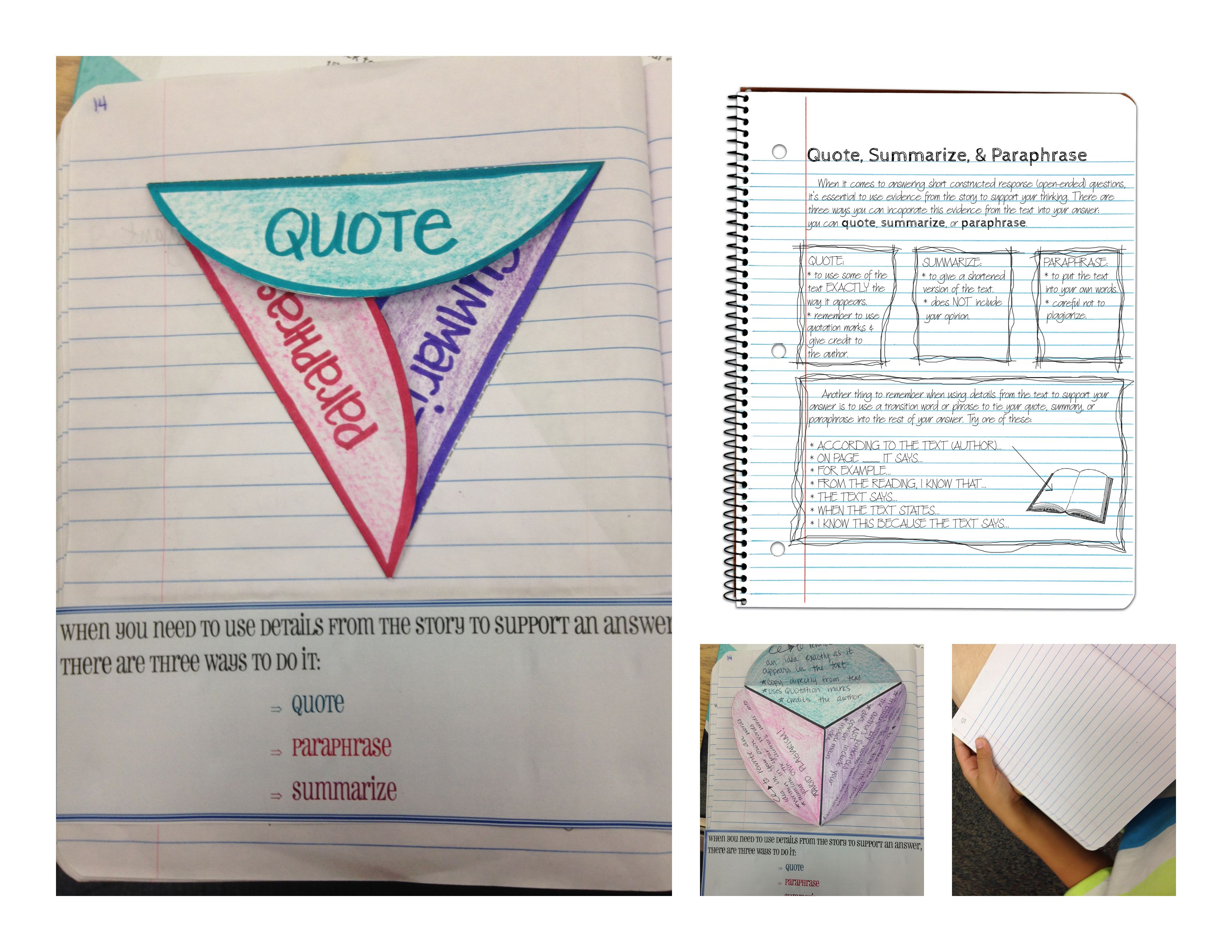 Quote Summarize And Paraphrase Sketch Notes For