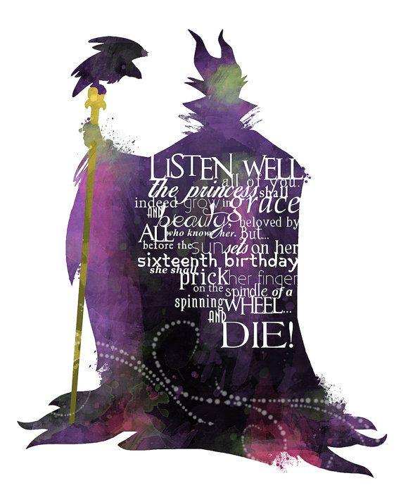 Maleficent 8x10 Printable Disney VILLAIN POSTER -- Digital / Instant Download / Sleeping Beauty / Disney Wall Art / Home Decor #disneyvillains