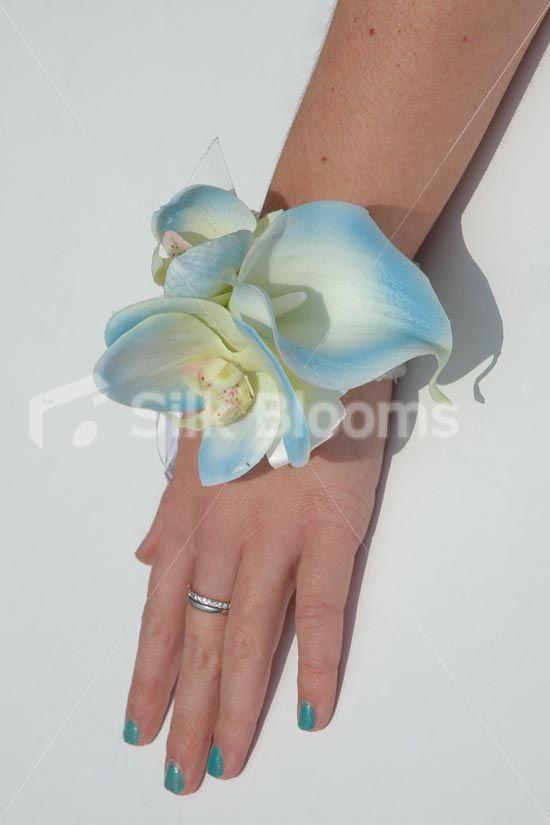 Gorgeous Baby Blue Wrist Corsage w/ Calla Lilies & Orchids ...