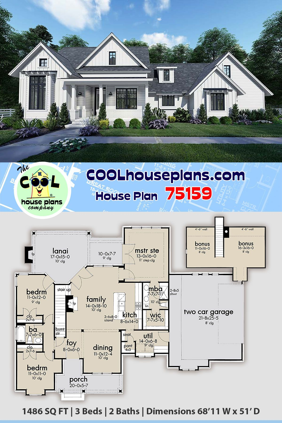 Southern Style House Plan 75159 With 3 Bed 2 Bath 2 Car Garage In 2020 Best House Plans House Plans Farmhouse Floor Plans