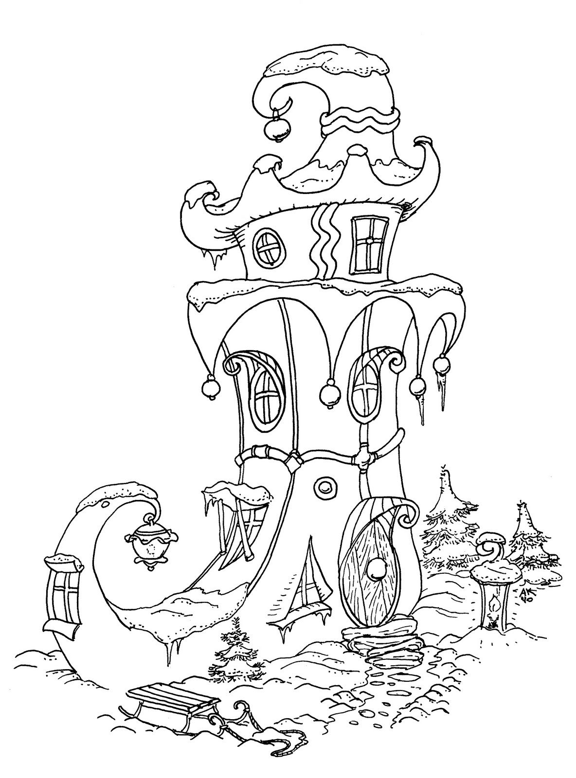 elf house color page Christmas coloring pages, Coloring
