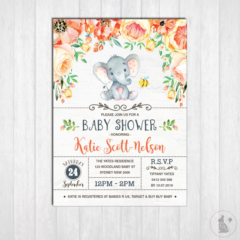 ELEPHANT Baby Shower Invitation Printable Gender Neutral