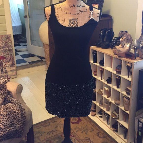 Cache beaded 100% silk skirt Iridescent beading hidden side zipper. Stunning little number re-Poshing  didn't fit! Cache Skirts Mini
