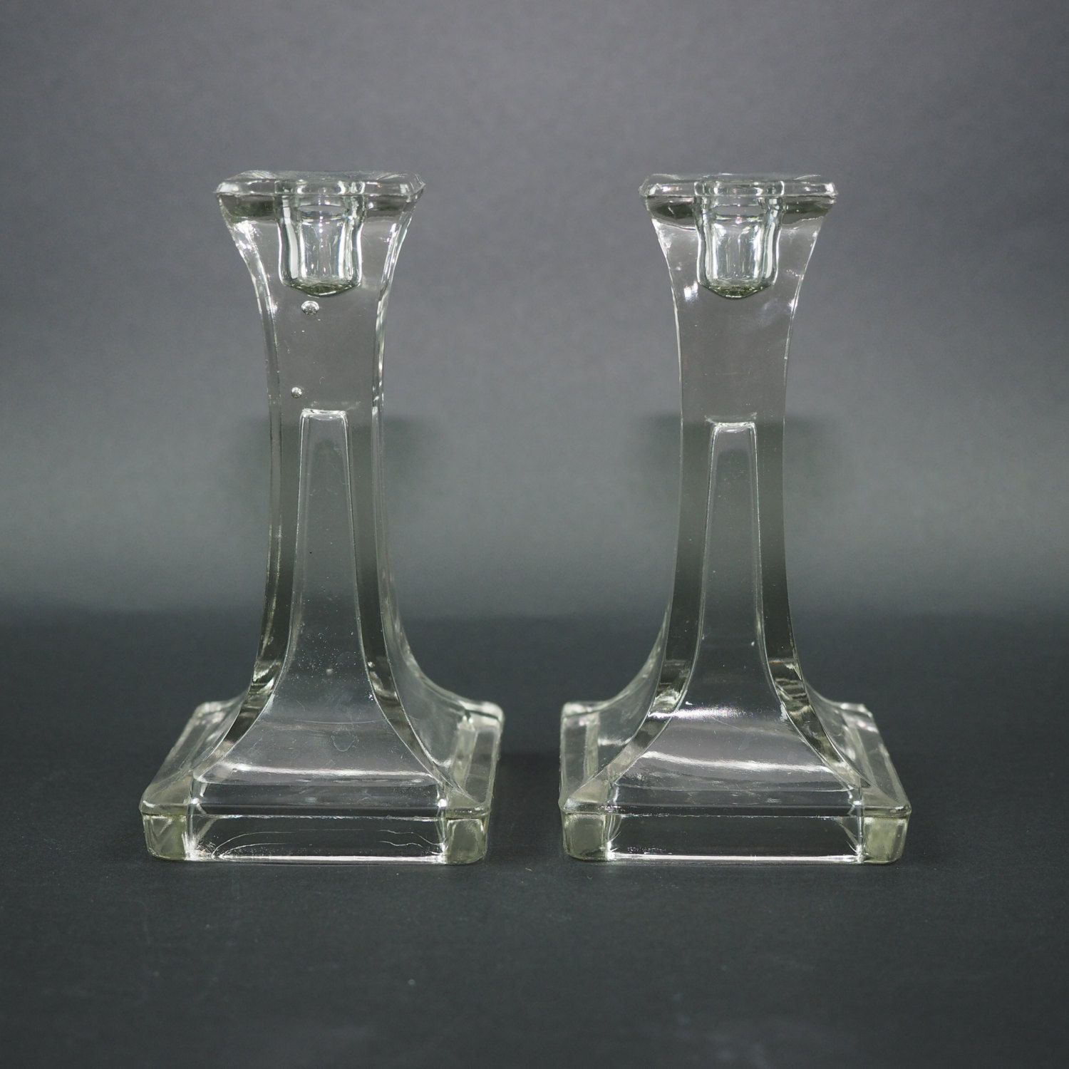 clear glass candlestick holders set of 2 vintage l e smith 500 clear glass candlestick holders set of 2 vintage l e smith 500 imperial