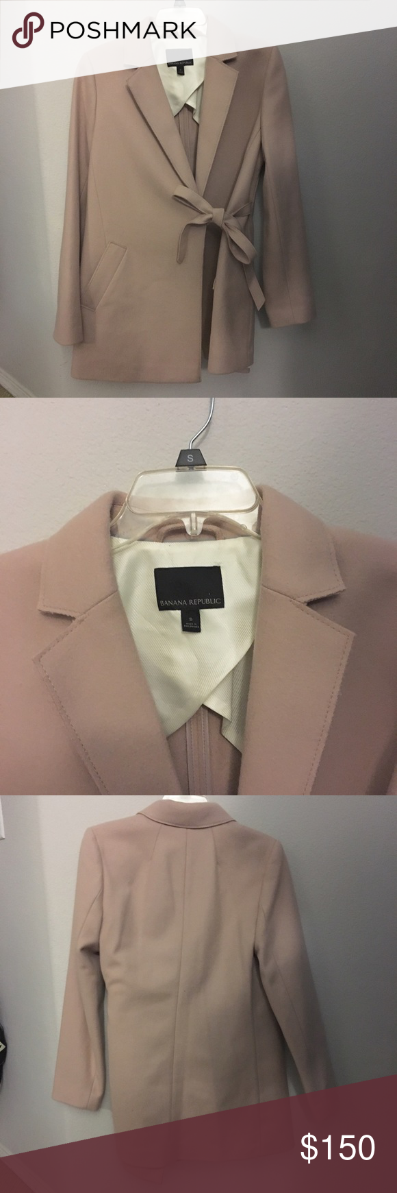 Light pink wrap wool coat NOTE: Moving in 1.5 months. Make your offers! Brand: Banana Republic. Size small. Super chic and cute! Such a beautiful colors. Only worn twice. NO SWAPS. #bananarepublic #light #pink #wrap #wool #coat   Fun fact: I discoumt bundles! :) Banana Republic Jackets & Coats Pea Coats
