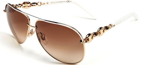 52e6a83299e GUCCI  Marina Chain  63mm Aviator Sunglasses (White)