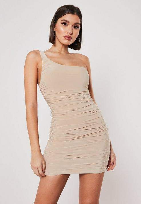 4c47d21d50 Nude One Shoulder Ruched Bodycon Mini Dress in 2019   Products ...
