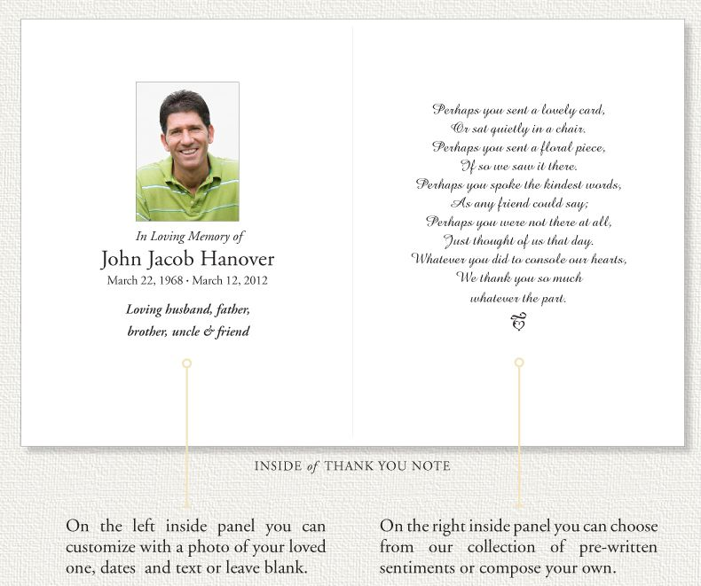 Memorial Thank You Notes by Memorial Prayer Cards Sympathy thank - funeral programs examples