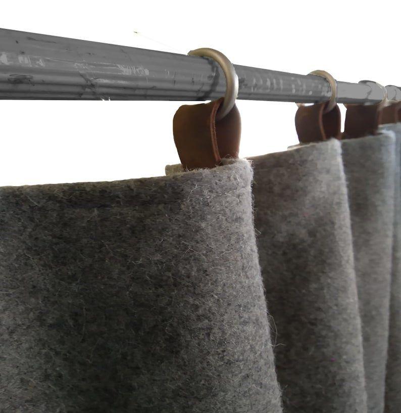 Wool Felt Curtains Light Gray Felt Curtain Panel Custom Window