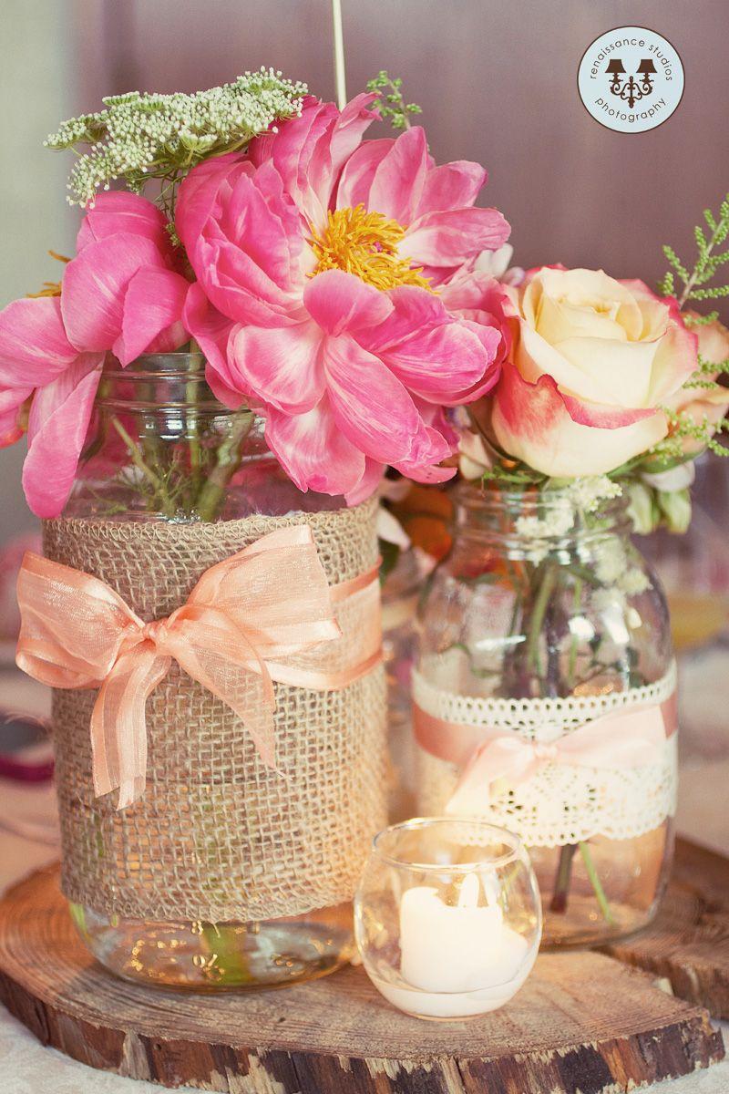 Our handmade Mason Jar Centrepieces! | Flowers | Pinterest | Mason ...