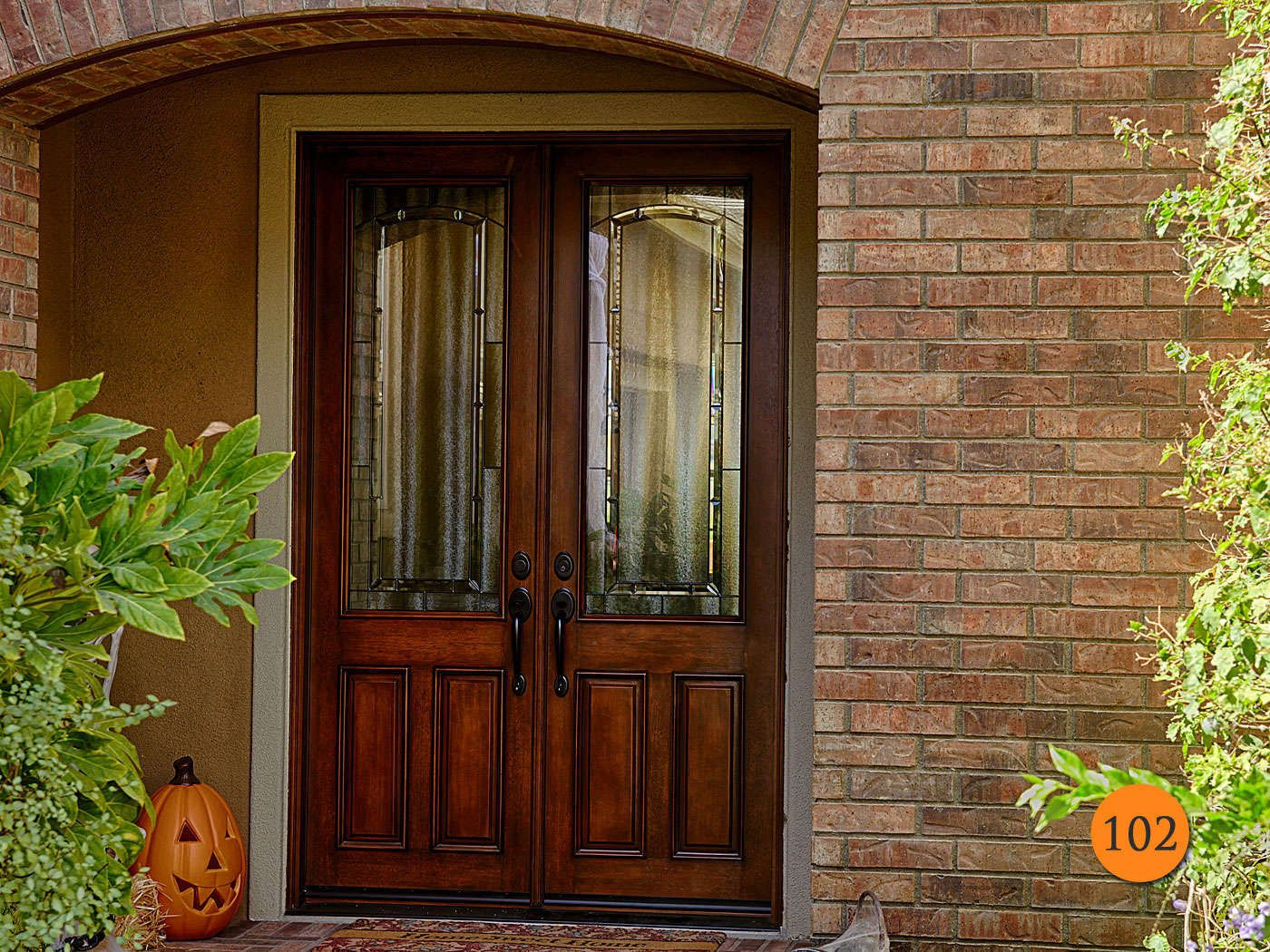 Traditional Style 8 Foot Tall Double 30 Inch Fiberglass Doors In