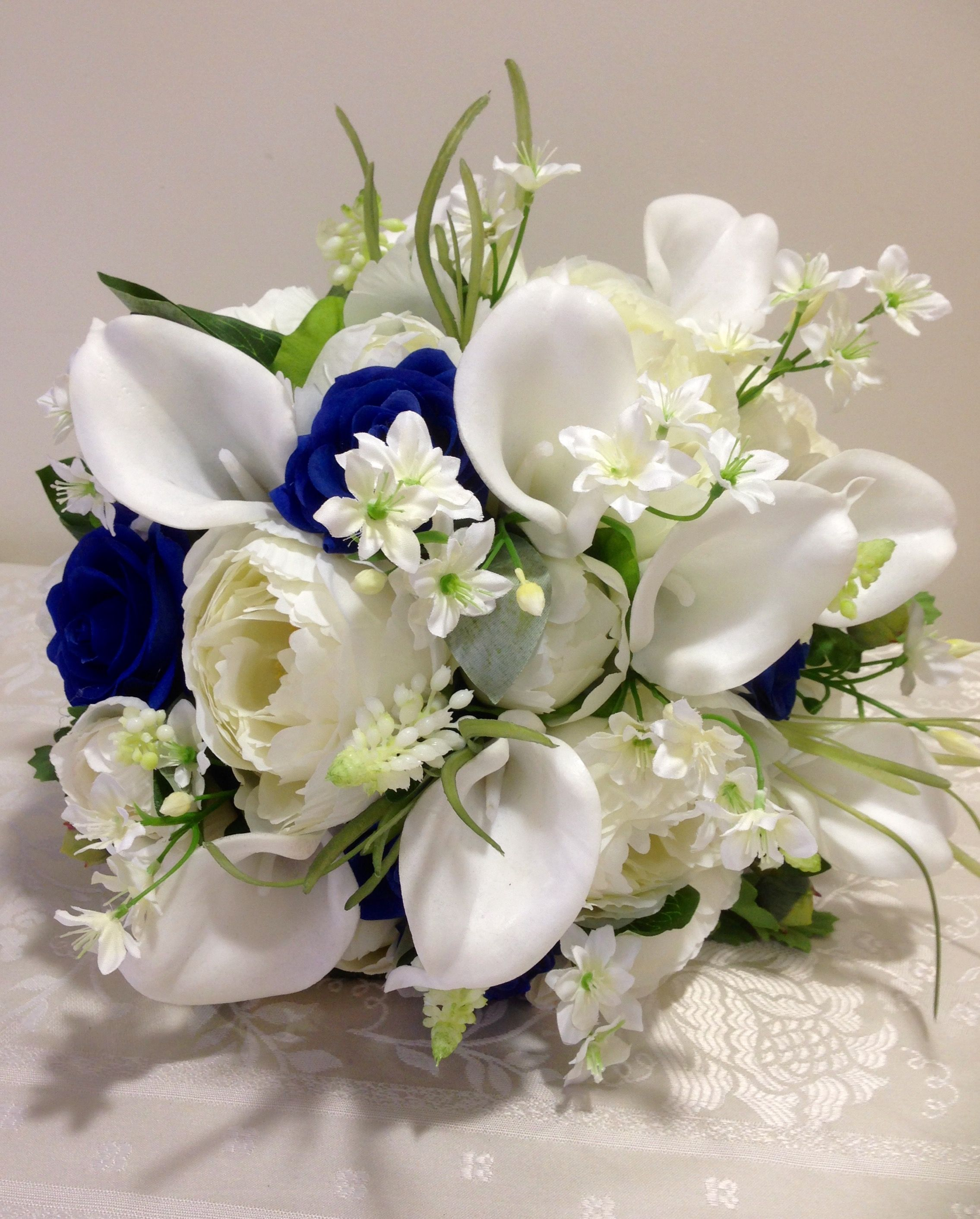 Bouquet In Everlasting Flowers Whites And Royal Blue Calla Lilies