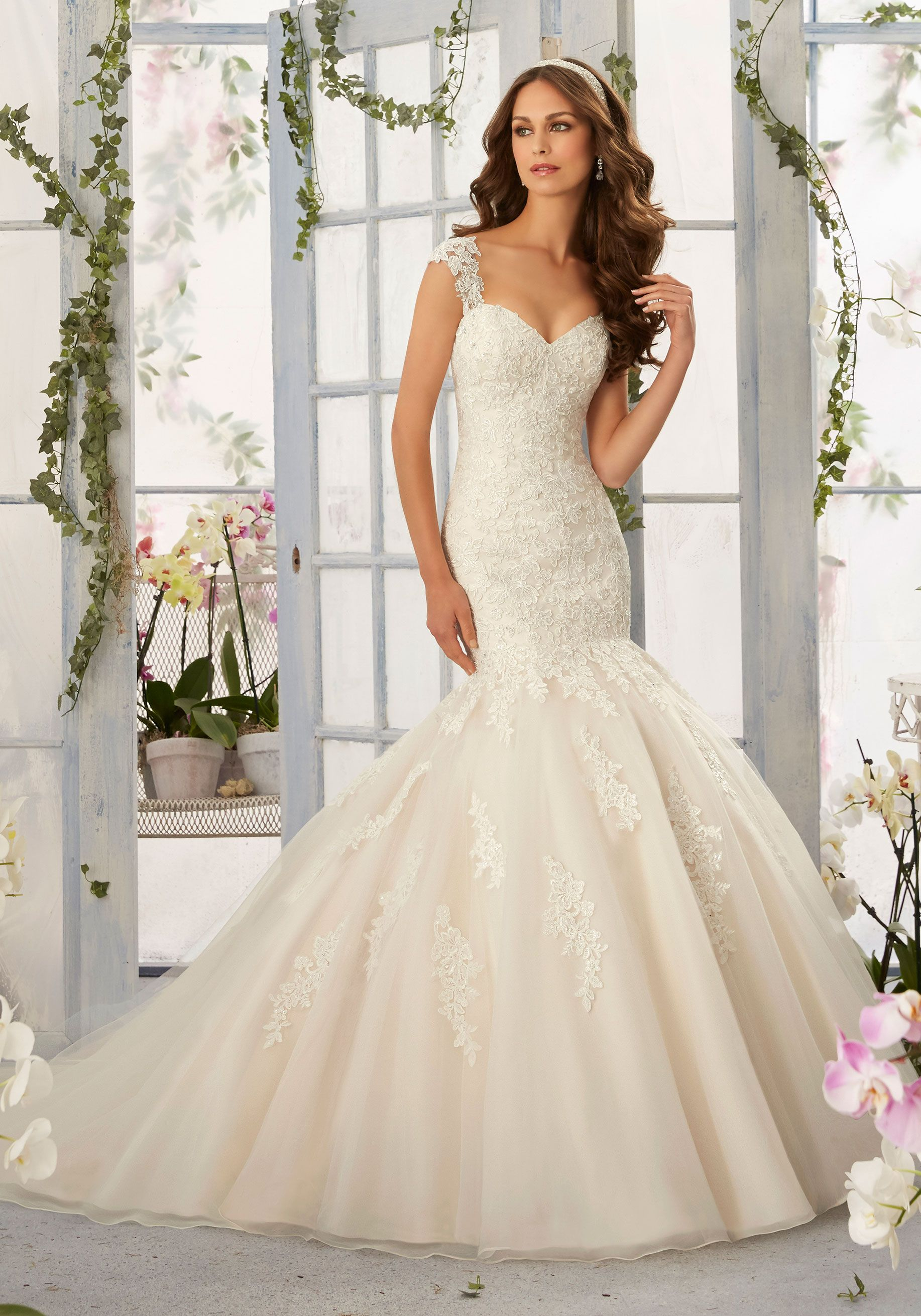 Tulle mermaid wedding dress  Alençon Lace Appliqués with Frosted Beading onto Tulle Mermaid