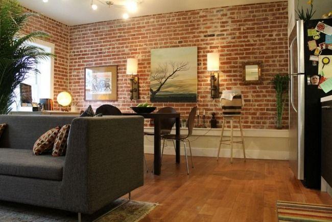 esszimmer rustikal ideen backstein wandgestaltung | wohnzimmer ...