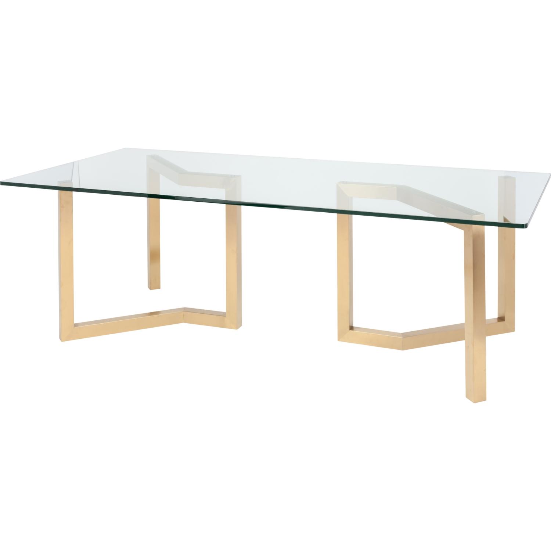 Nuevo Paula 94 Dining Table Brushed Gold Geometric Legs
