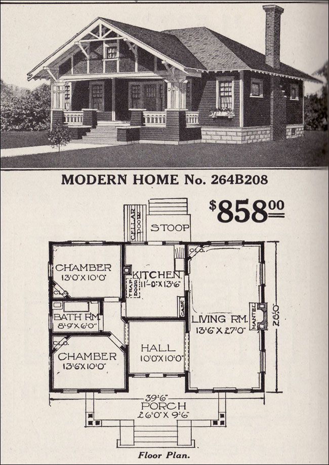 Sears Roebuck Bungalow House Plan Modern Home No 264B208 Hipped Roof Craftsman style