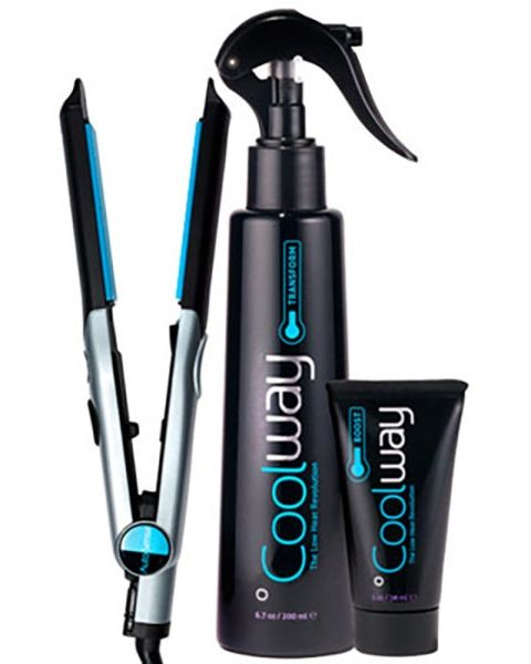 This low-temp flat iron is just one staple in an entire heat-protectant system. The blue plates never go over 299 degrees, whereas most go up to 400. The styling products included in the bundle also boost your hair's natural water content. AutoSense Styler System, Coolway System $100