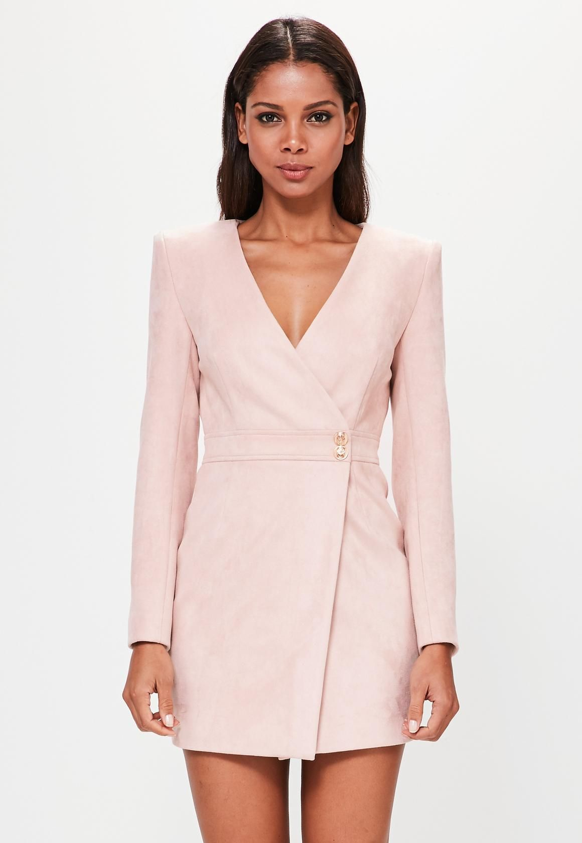 Missguided - Peace Love Nude Long Sleeve Faux Suede Wrap Dress ... f1af8a88d6d4a