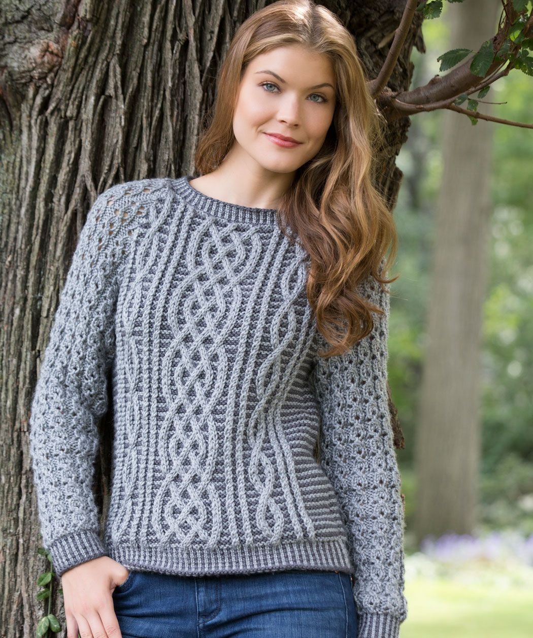 Two-Tone Cable Sweater Free Knitting Pattern | Red Heart | Knitting ...