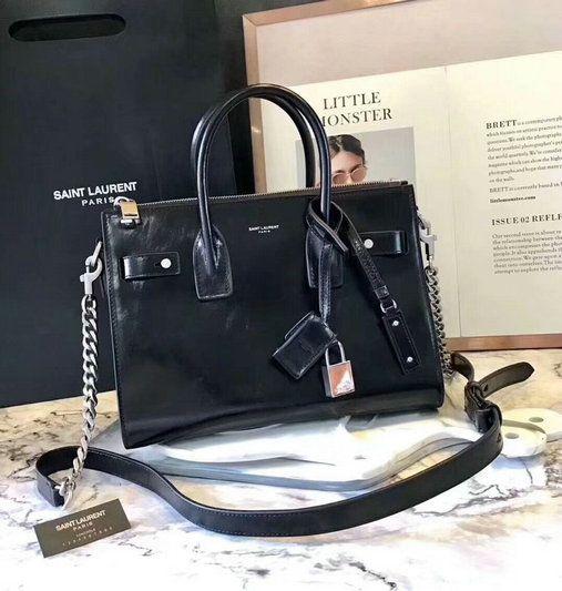 c0e6c721344f 2017 Saint Laurent Baby Sac De Jour Duffle Bag in Black Shiny Leather