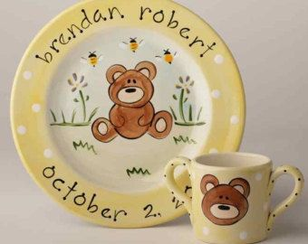 personalized hand painted ceramic baby bear cup and birth plate set & personalized hand painted ceramic baby bear cup and birth plate set ...