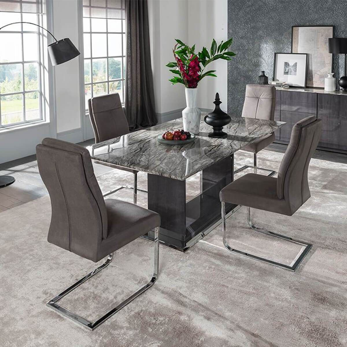 The Rina 4 To 8 Seater Marble Dining Table Set Boasts A Sleek And Modern Design